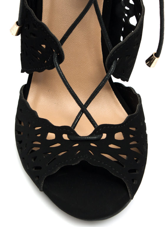 So Haute Laser Cut-Out Heels BLACK