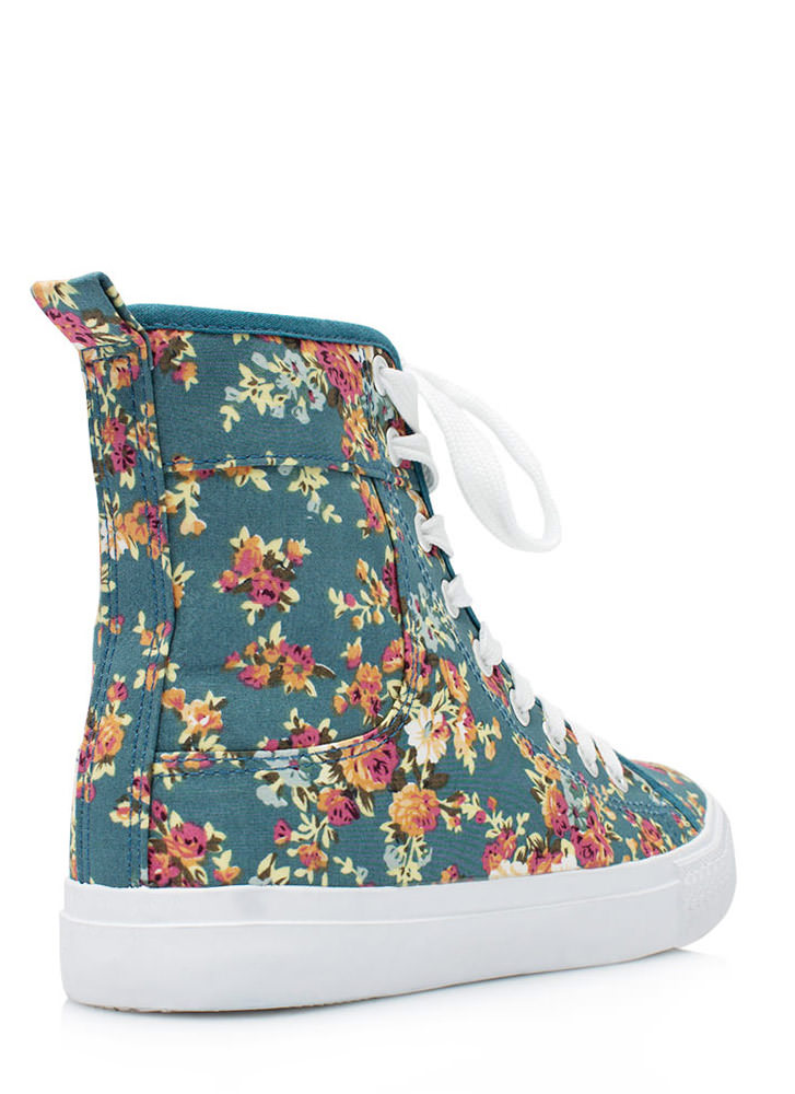 Floral High-Top Sneakers BLUE