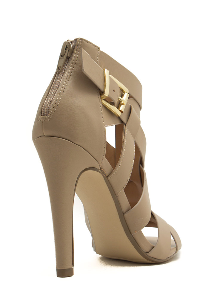 Criss-Cross Me Strappy Heels PUTTY