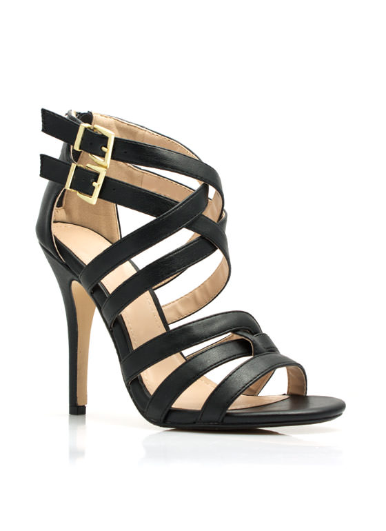 Over-Under Strappy Woven Heels BLACK