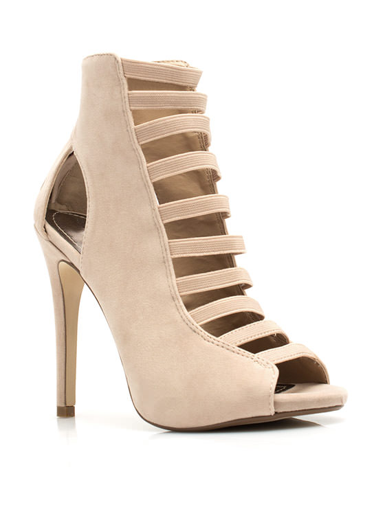 Step It Up Faux Suede Heels NUDE