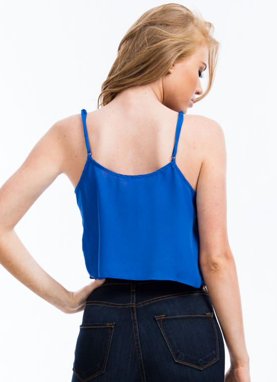 Chiffon Cropped Tank ROYAL