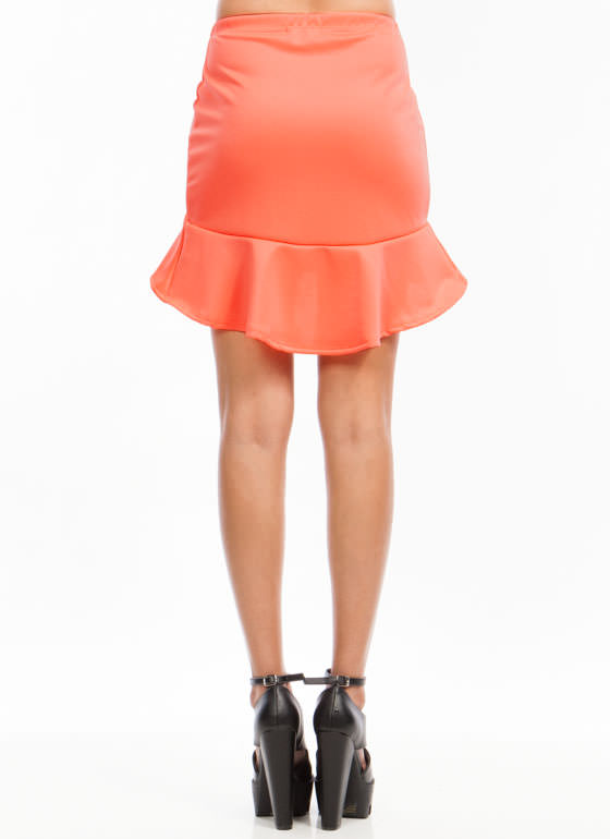 High-Low Trumpet Skirt NEONCORAL