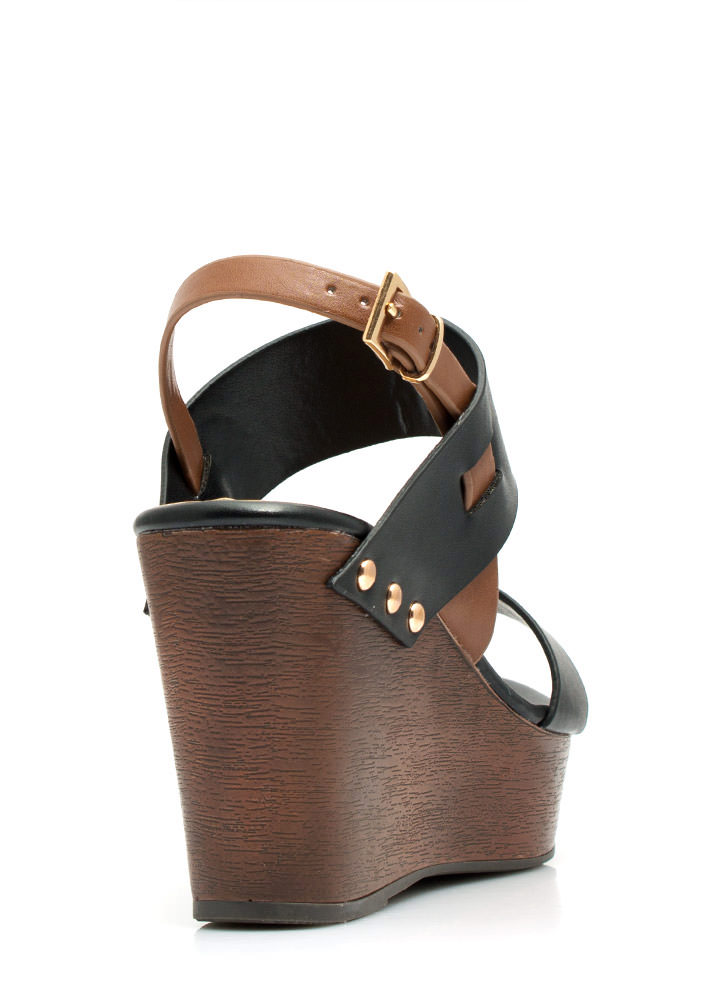 Wide Strap Faux Wood Wedges BLACK