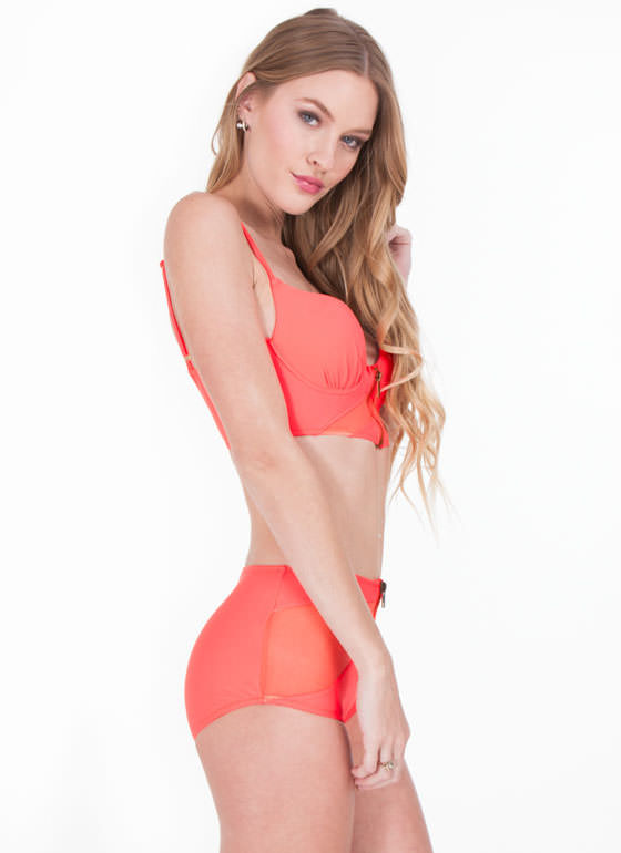 High-Waisted Zip 'N Mesh Bikini Set  CORAL