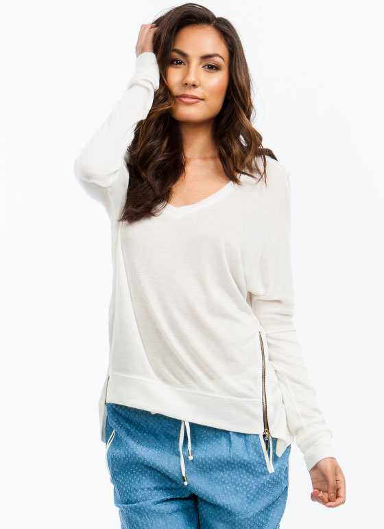 2 Way Zip High-Low Sweater IVORY