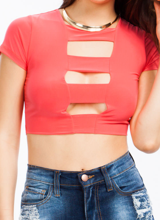 Ladder Cut-Out Cropped Top CORAL