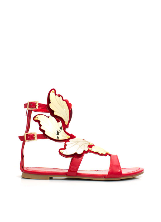 Sprout Wings Strappy Plated Sandals RED