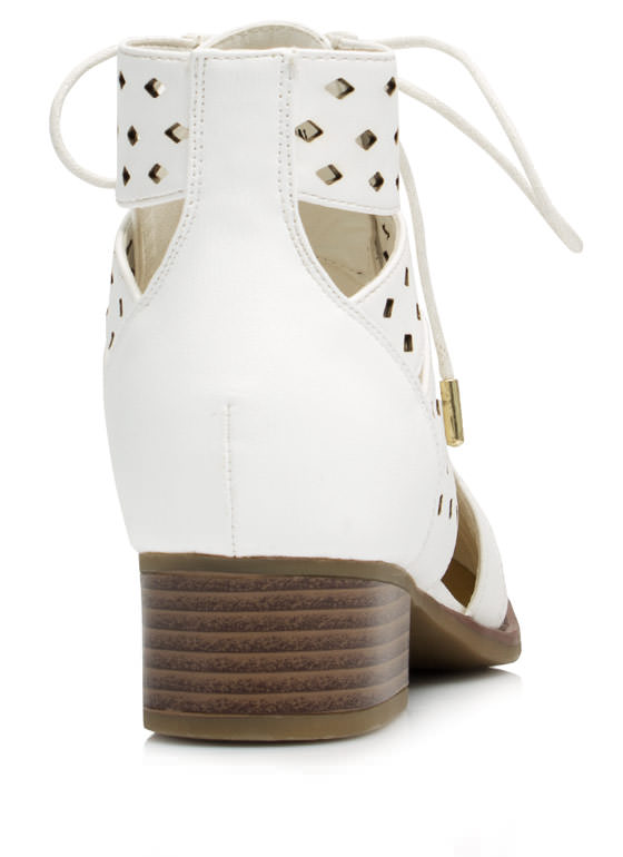 On My Level Laser Cut-Out Booties  WHITE