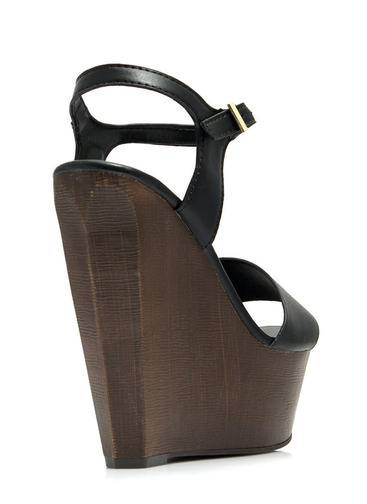 Angular Faux Wood Strappy Wedges BLACK