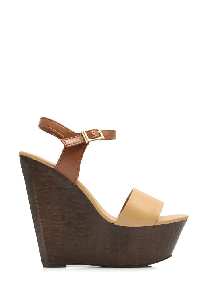Angular Faux Wood Strappy Wedges NATURAL