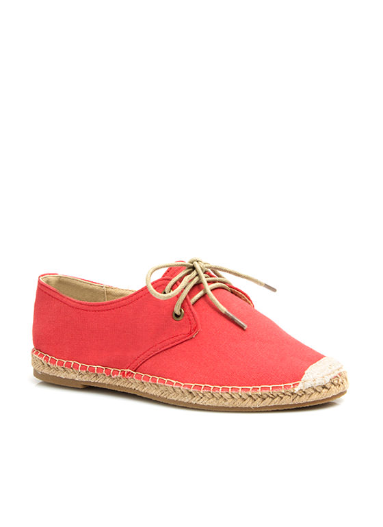 On Your Toes Oxford Espadrille Flats CAYENNE
