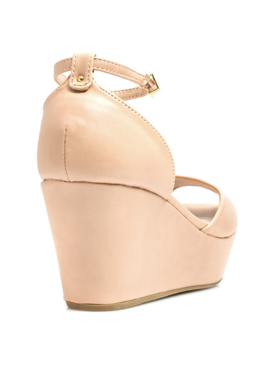 Peep It Platform Wedges NUDE