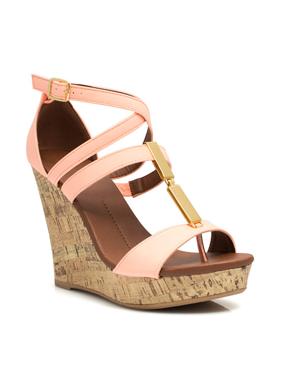 Double Plate Accent Wedges PEACH