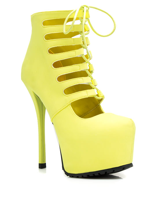 Dare Devil Faux Leather Platform Heels YELLOW