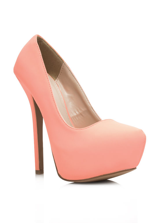 Sleek For Itself Faux Nubuck Heels PEACH