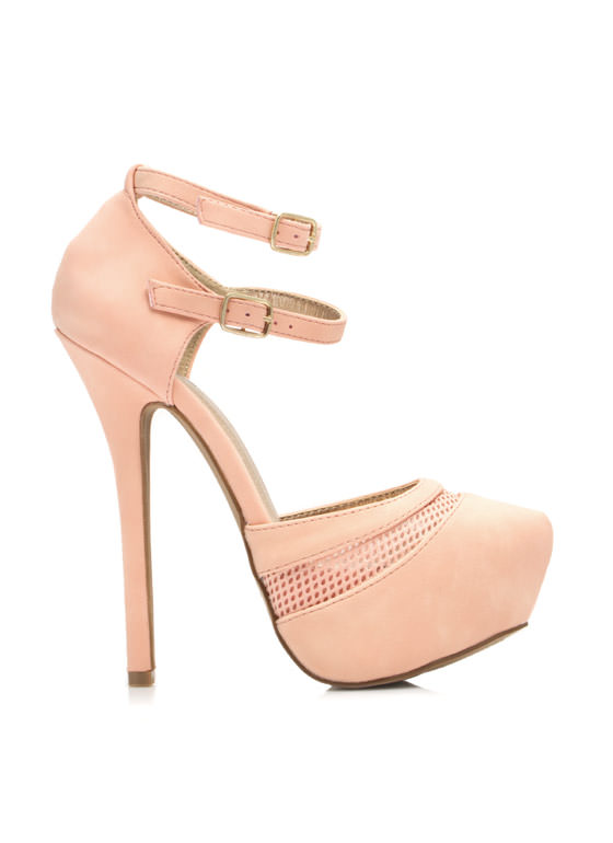 Slip Thru The Net Strappy Platforms BLUSH