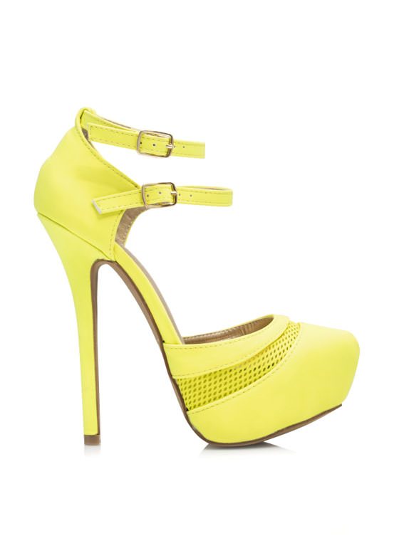 Slip Thru The Net Strappy Platforms YELLOW (Final Sale)