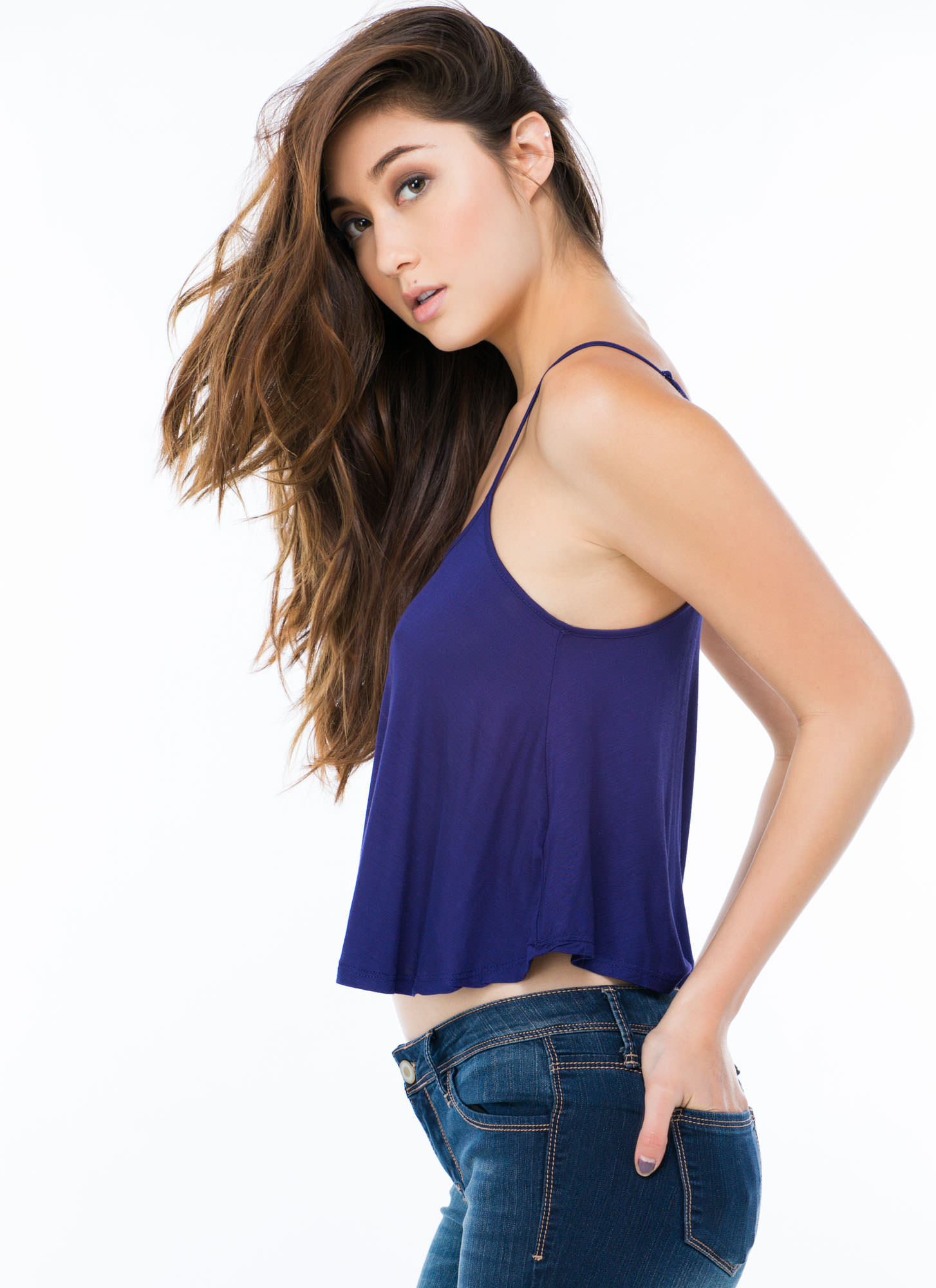 Flows As You Go Cropped Tank NAVY