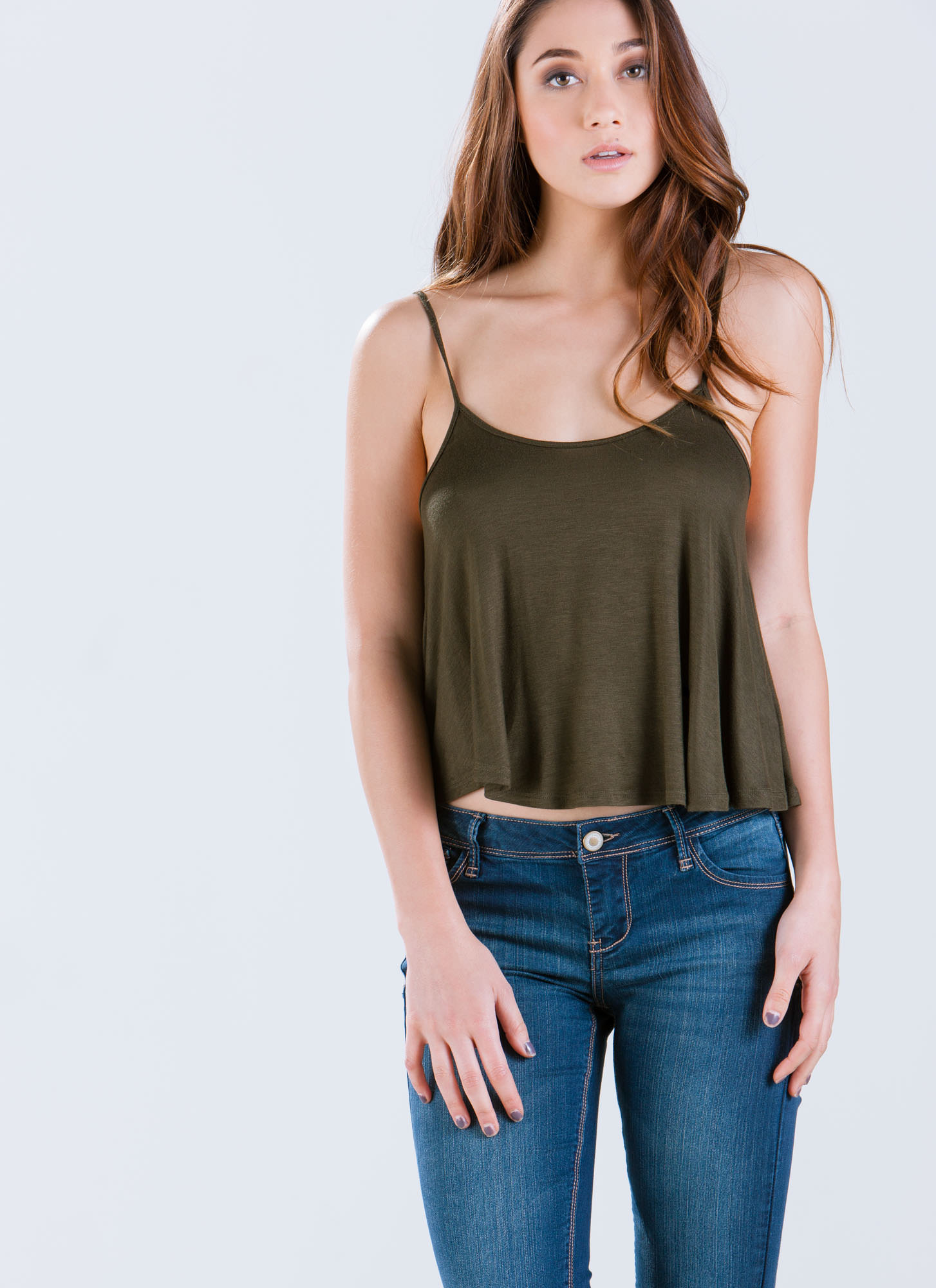 Flows As You Go Cropped Tank OLIVE