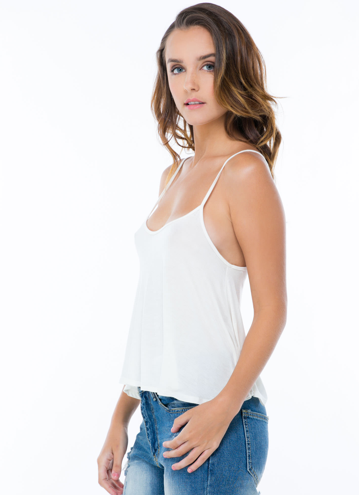 Flows As You Go Cropped Tank WHITE