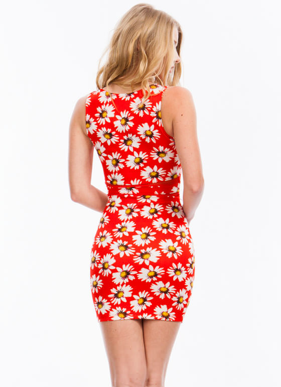 Oopsy Daisy Mesh Inset Bodycon Dress RED