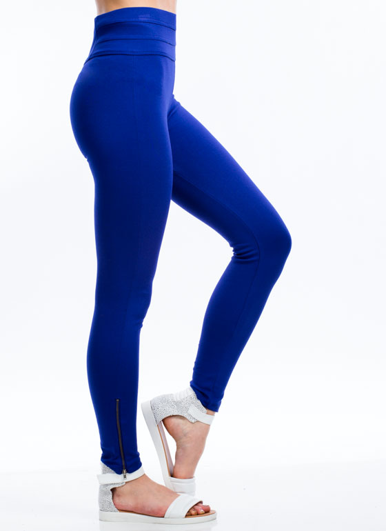 Zip Along Paneled Ponte Skinny Pants ROYAL