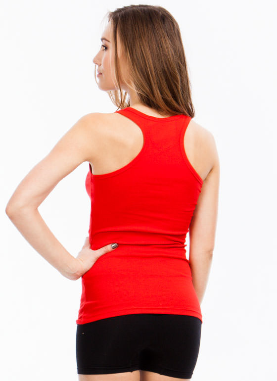 Back To Basics Ribbed Tank Top RED
