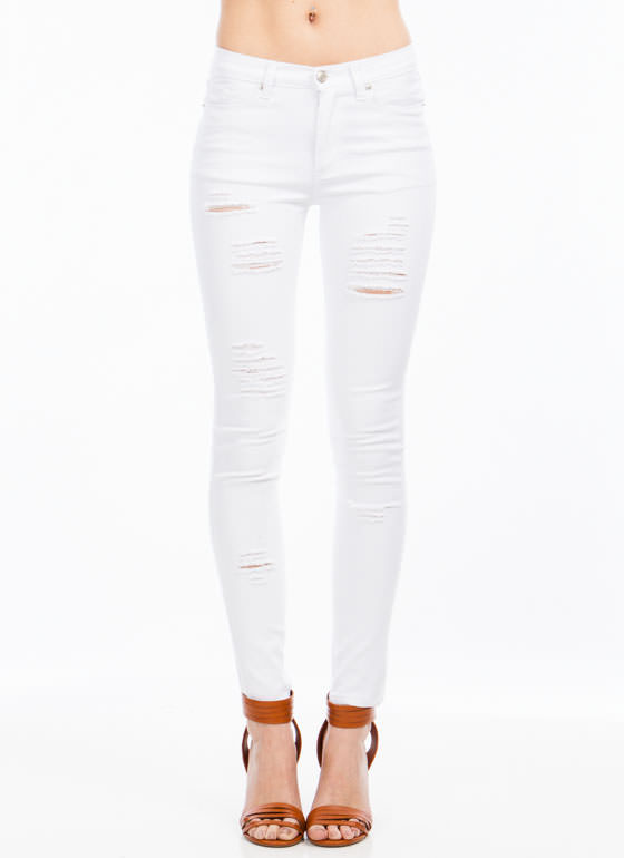 Hole Lot To Love Destroyed Jeans WHITE