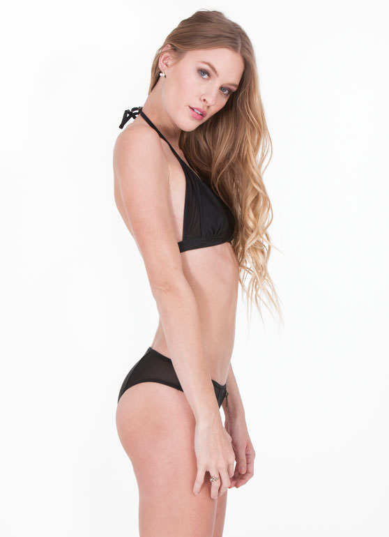 Zipper 'N Mesh Solid Bikini Set BLACK (Final Sale)