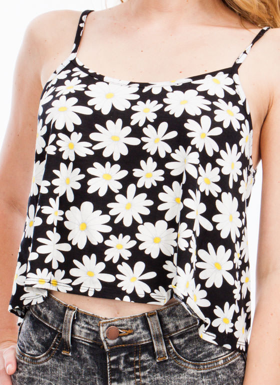 Pick A Daisy Cropped Tank BLACK