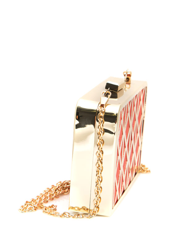 Metal Trimmed Faux Leather Box Clutch CORAL