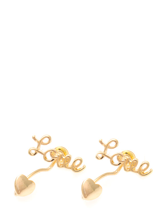 Dangling Heart Cursive Love Earrings GOLD