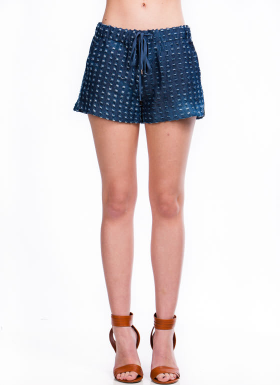 Time To Distress Denim Drawstring Shorts DKBLUE
