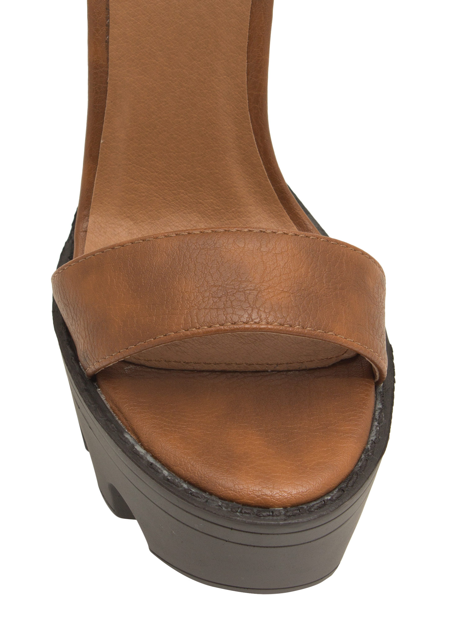 Lug Be A Lady Chunky Ankle Cuff Heels COGNAC