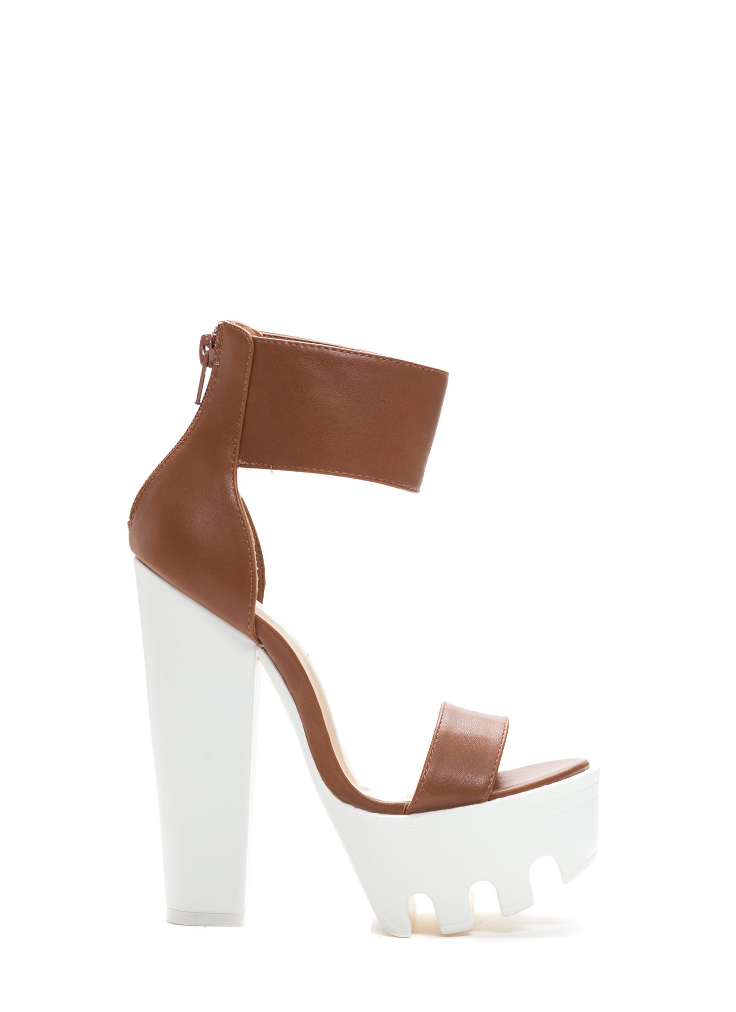 Lug Be A Lady Chunky Ankle Cuff Heels COGNACWHITE