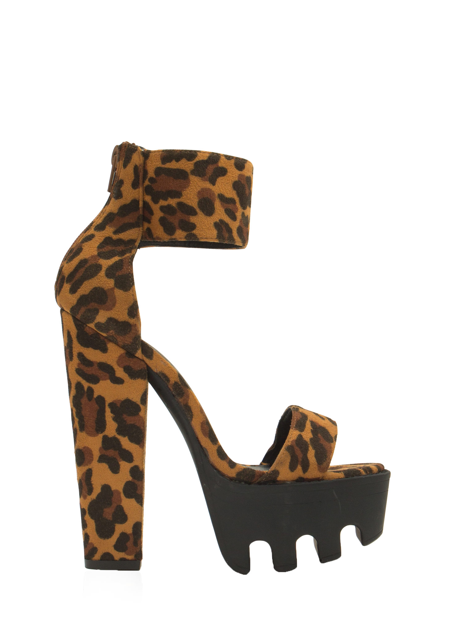 Lug Be A Lady Chunky Ankle Cuff Heels LEOPARD