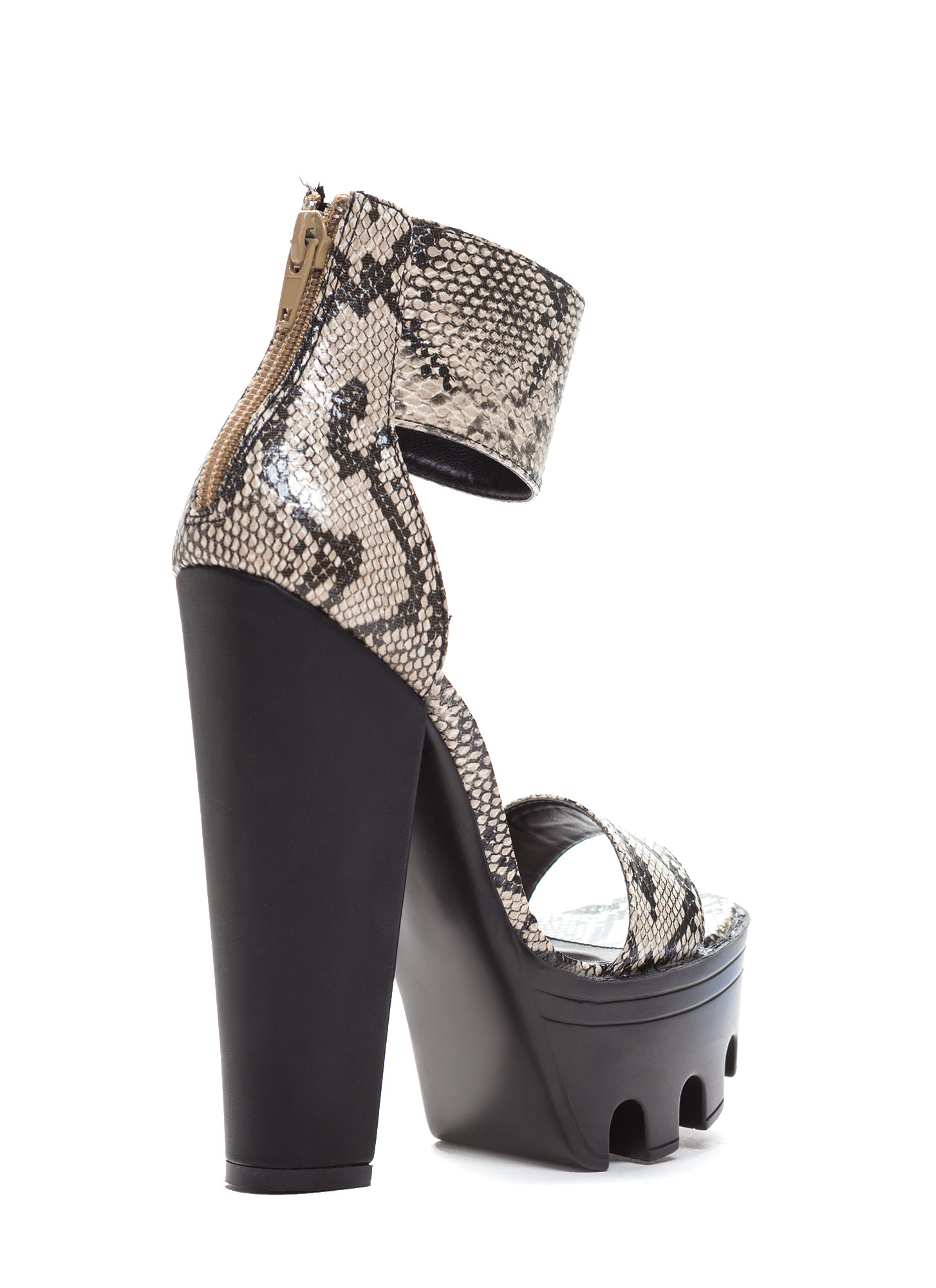 Lug Be A Lady Chunky Ankle Cuff Heels NATURAL
