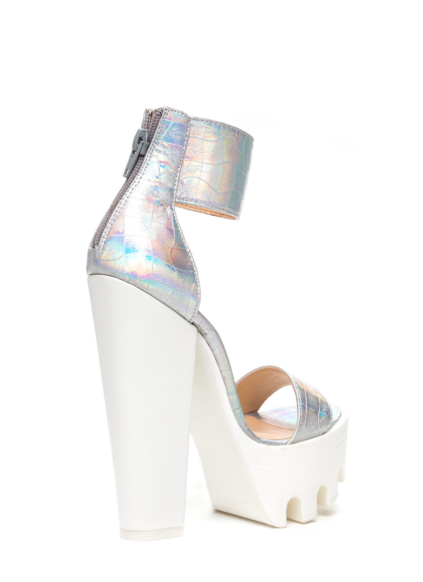 Lug Be A Lady Chunky Ankle Cuff Heels SILVER