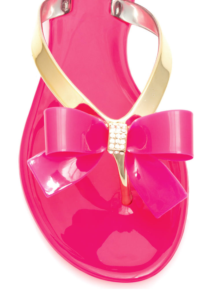 Bow-Dazzled Jelly Thong Sandals FUCHSIA