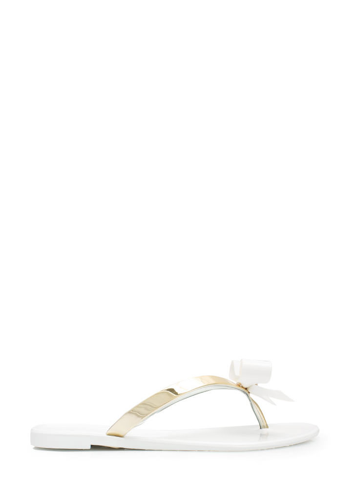 Bow-Dazzled Jelly Thong Sandals WHITE