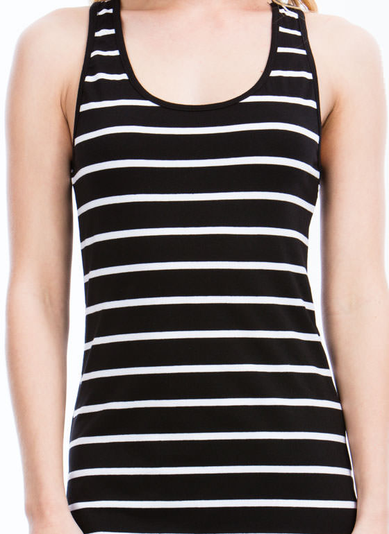 Striped Racerback Bodycon Dress BLACK