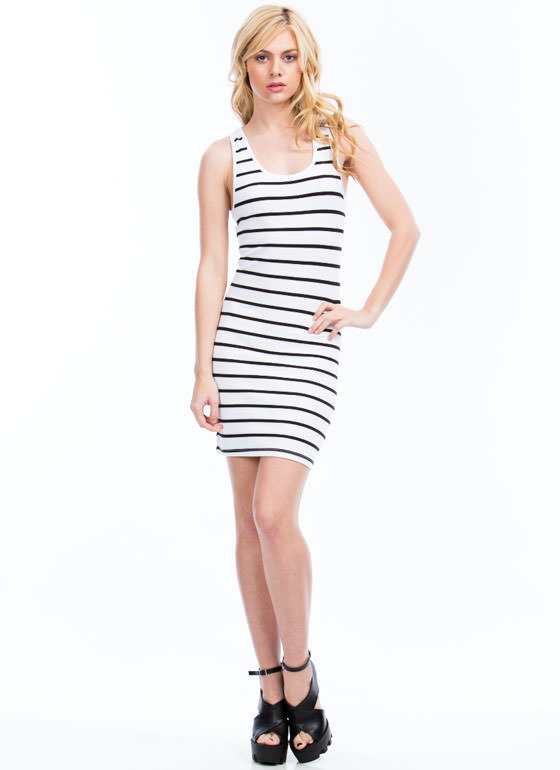 Striped Racerback Bodycon Dress WHITE