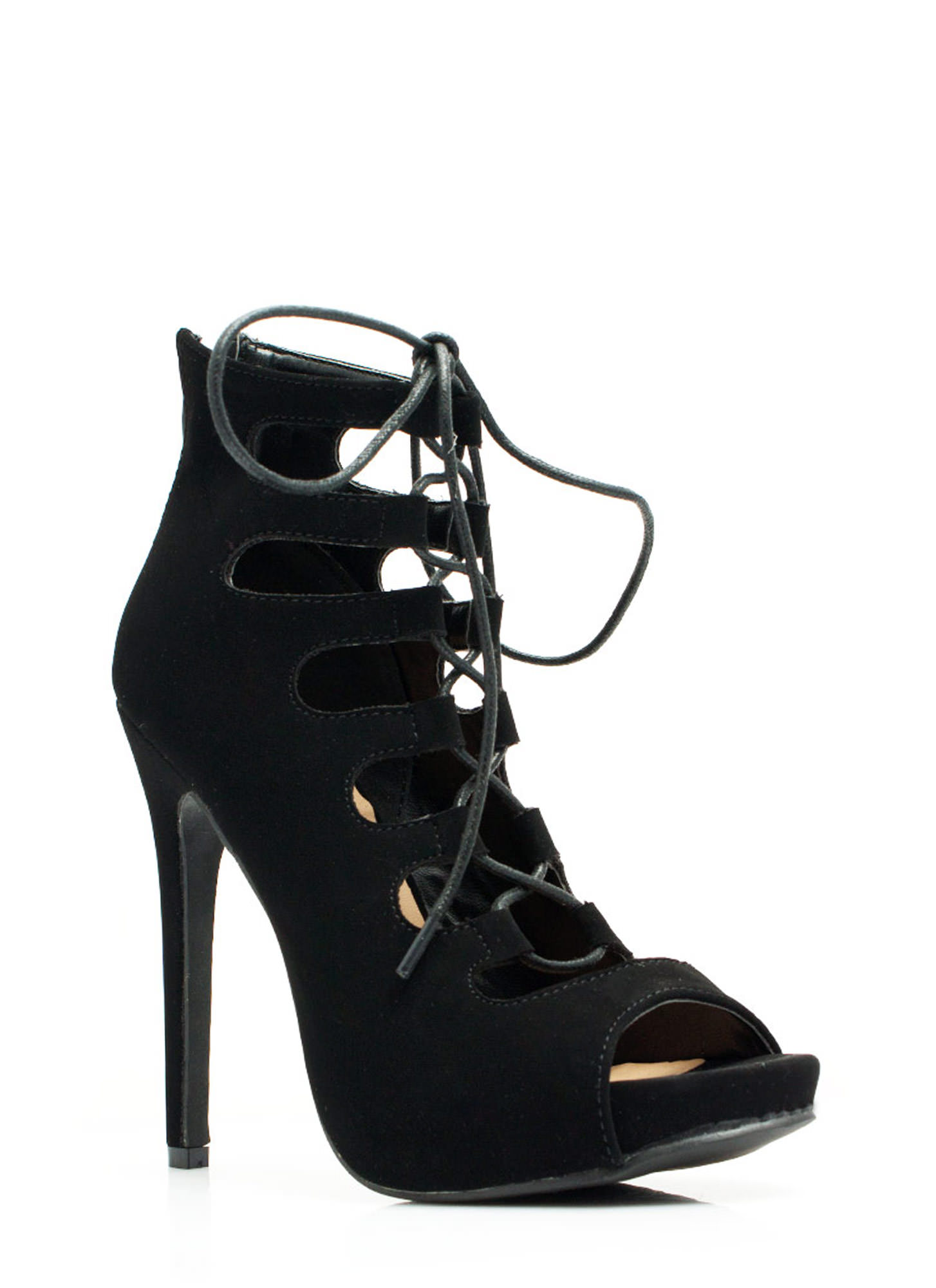 Corset It Off Lace-Up Cut-Out Heels BLACK