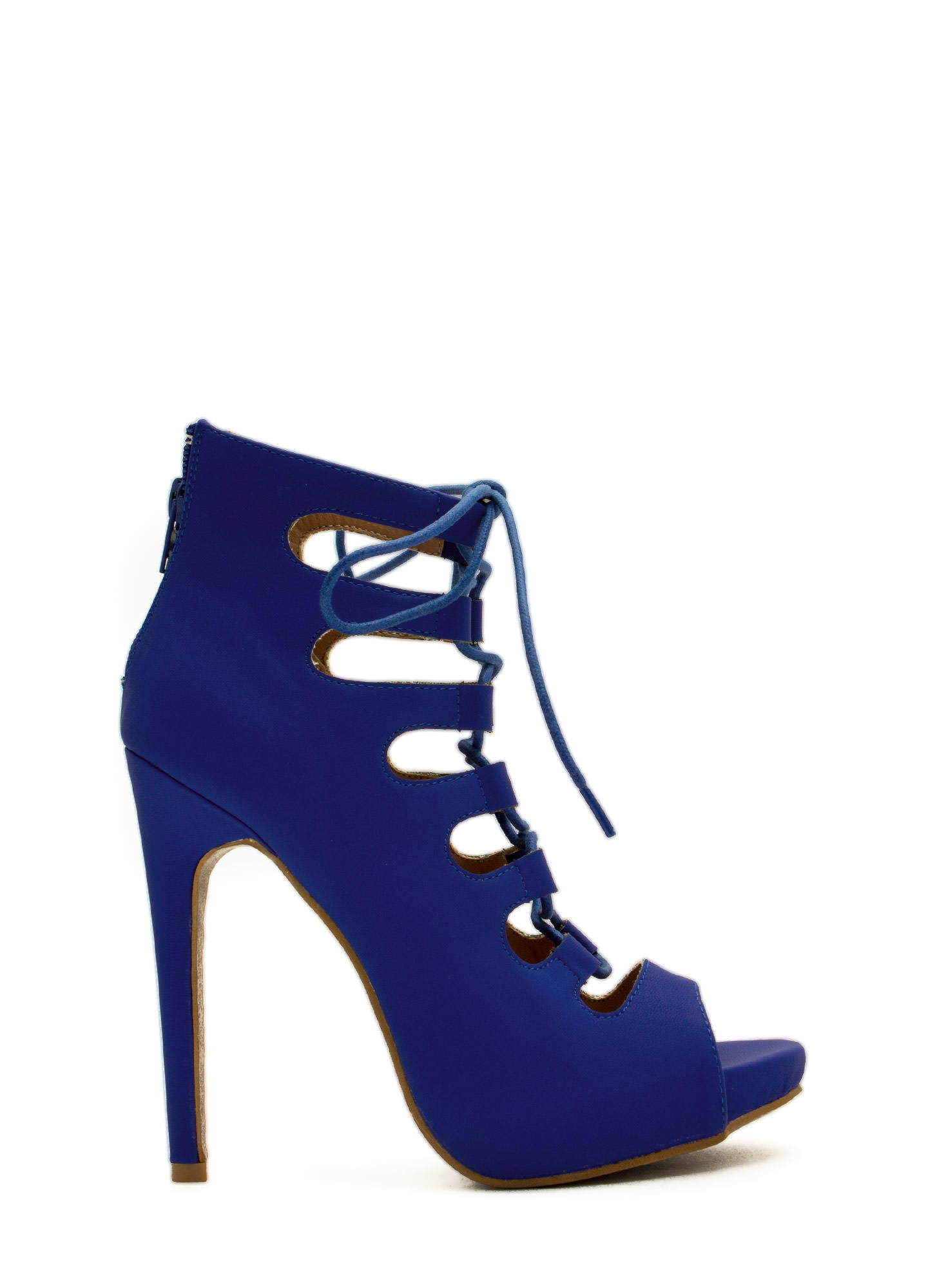 Corset It Off Lace-Up Cut-Out Heels BLUE