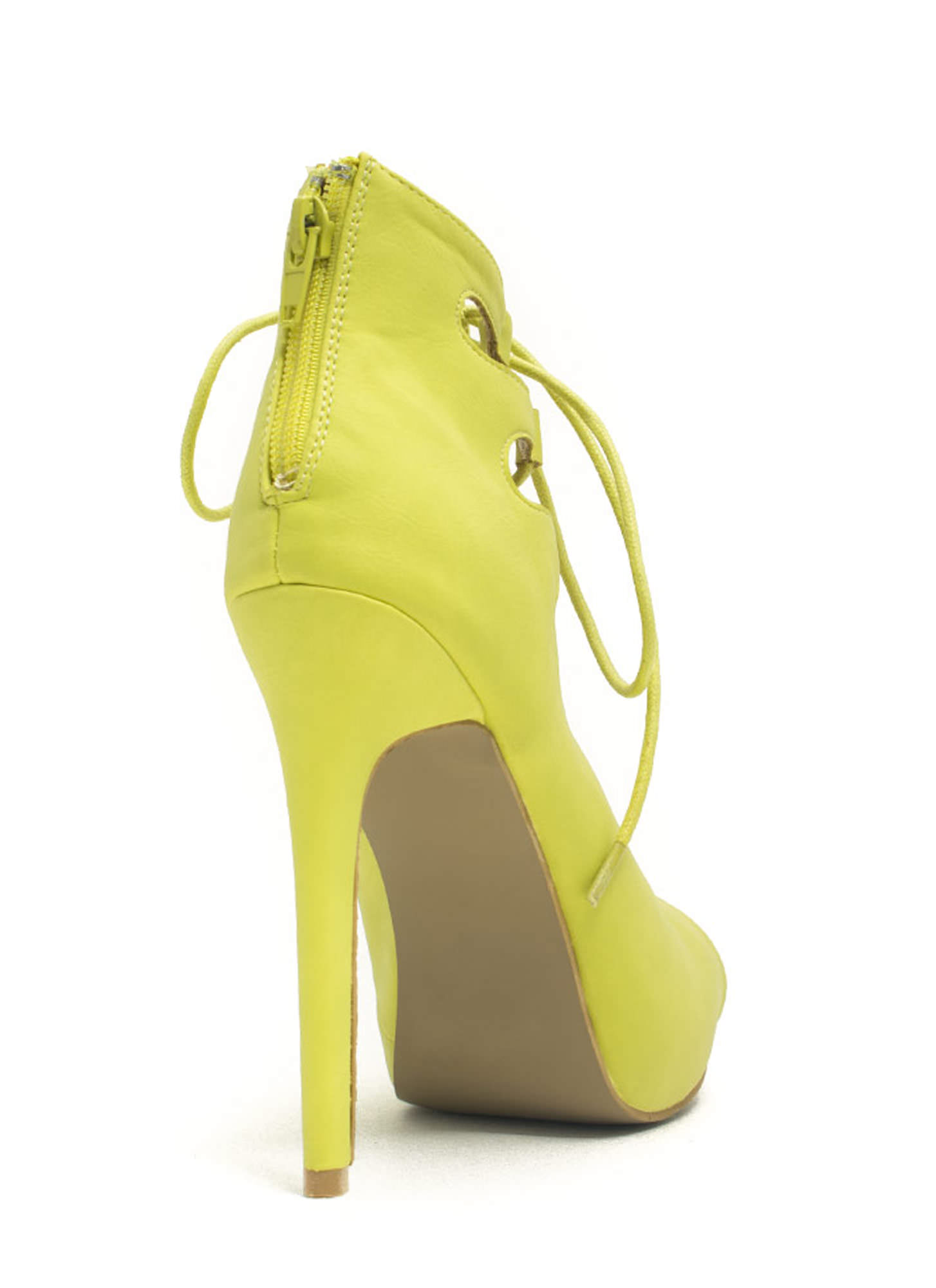 Corset It Off Lace-Up Cut-Out Heels LIME
