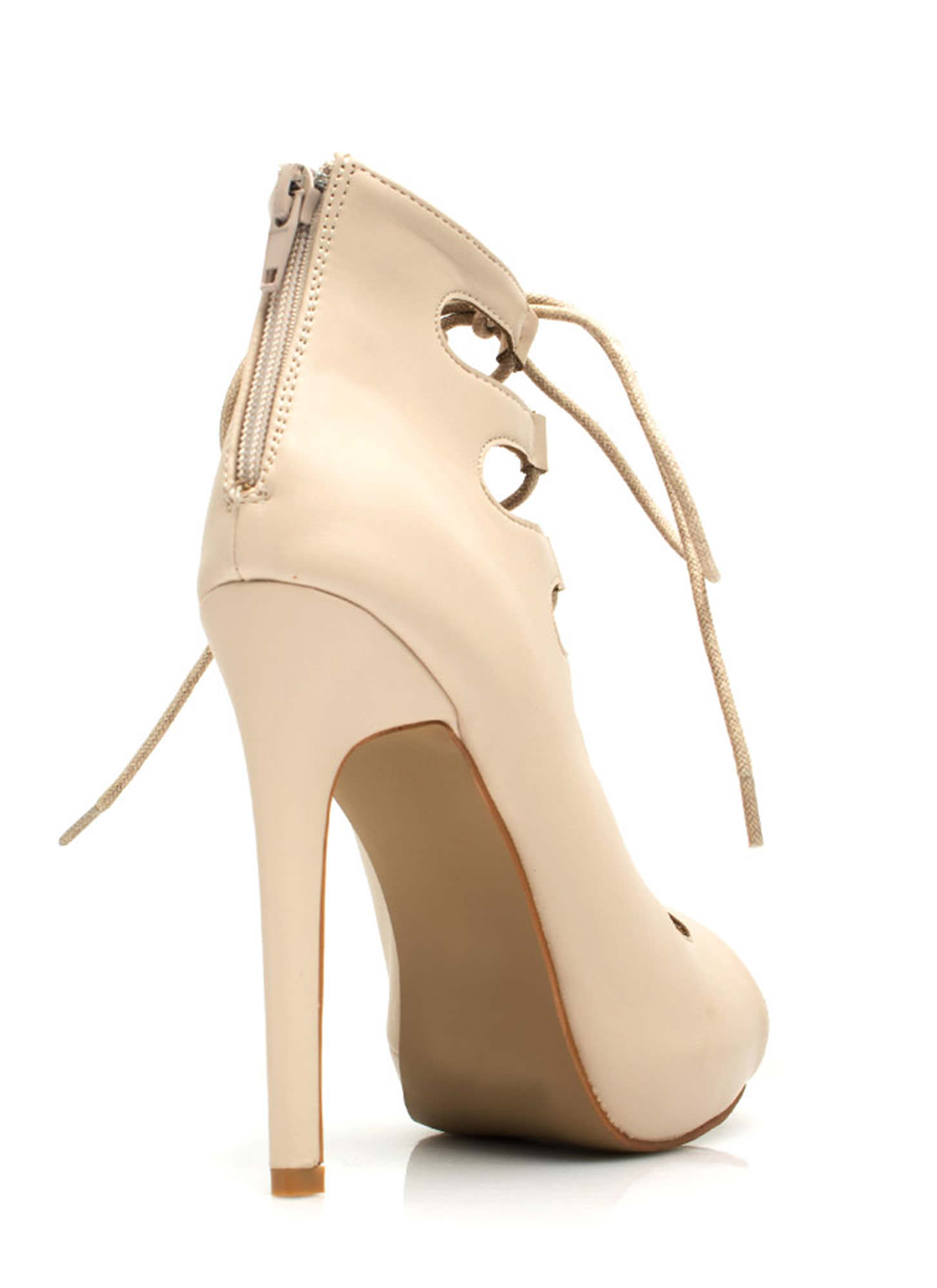 Corset It Off Lace-Up Cut-Out Heels NUDE
