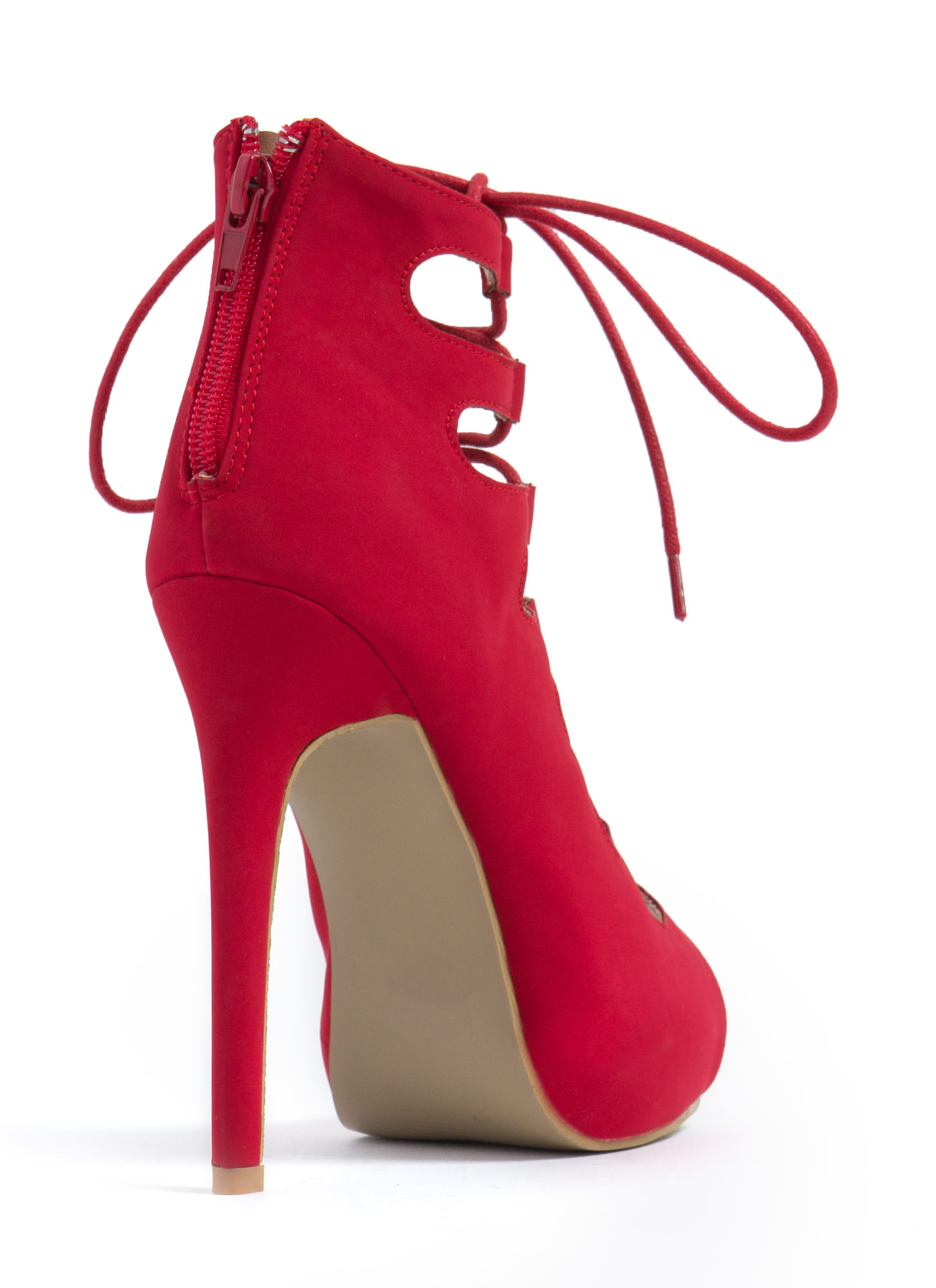 Corset It Off Lace-Up Cut-Out Heels RED