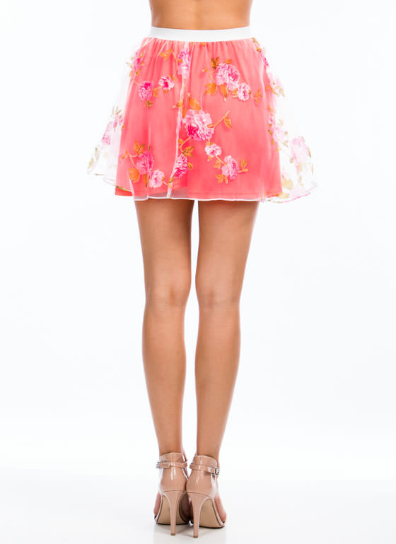 Fool For Tulle Floral Flared Skirt NEONCORAL