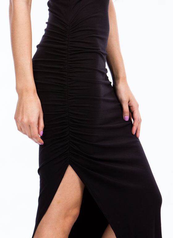 Ruche To The Max Dress BLACK